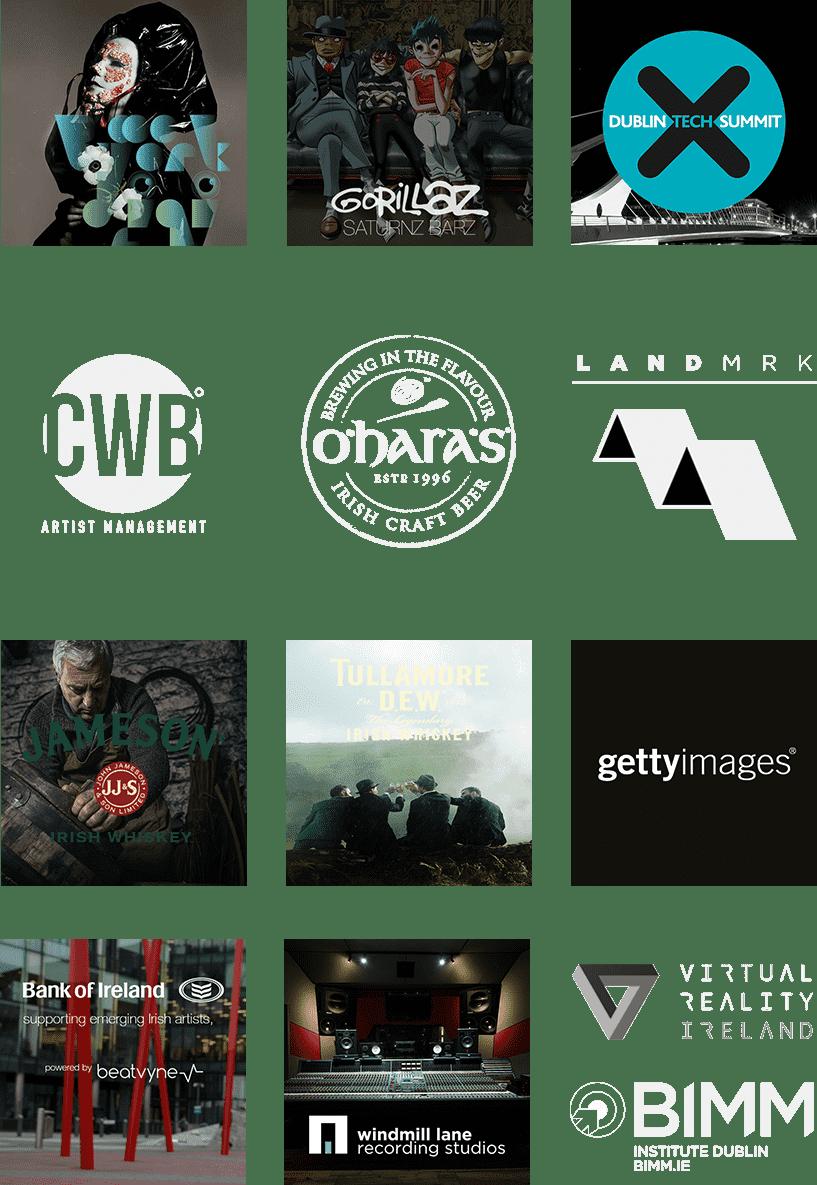 Björk Digital, Gorillaz, Dublin Tech Summit, CWB, O'Hara's, Landmrk, jameson, Tullamore DEW, Getty Images, Bank of Ireland, Windmill Lane Recording Studios, Virtual Reality Ireland, BIMM